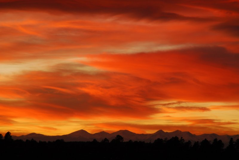 Sunset over the Rocky Mountains of Southern Colorado