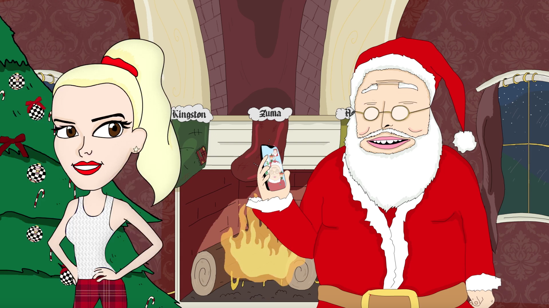 Gwen Stefani and Santa Animation Still Frame